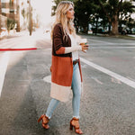 Long Cardigan Women Collarless Long Sleeve Color Block Open Stitch Cardigan