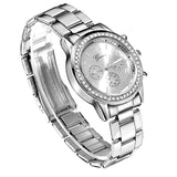 New Geneva Classic Rhinestone Watch   Silver, Rose Gold, Gold