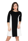 Color Block  Black and White Dress