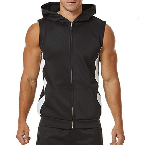 Men Zipper Splicing Sports Hooded Vest