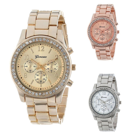 New Geneva Classic Rhinestone Watch  Fashionable Durable in Silver, Rose Gold, Gold