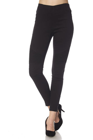 Stretchy Moto Leggings Pants with Zipper Detail on Bottom