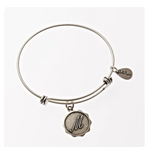 Letter M - Expandable Bangle Charm Bracelet in Pewter