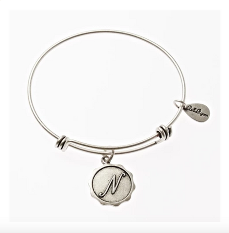 Letter N - Expandable Bangle Charm Bracelet in Pewter
