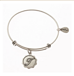 Letter T - Expandable Bangle Charm Bracelet in Pewter