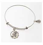Letter R - Expandable Bangle Charm Bracelet in Pewter