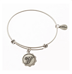 Letter W - Expandable Bangle Charm Bracelet in Pewter