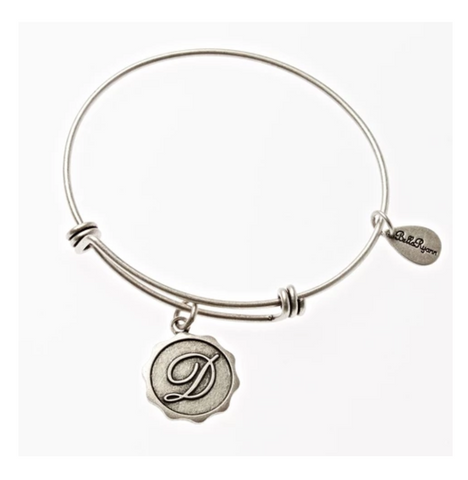 Letter D - Expandable Bangle Charm Bracelet in Pewter