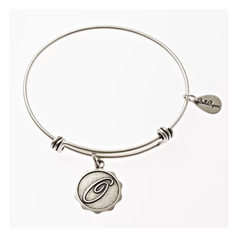 Letter O - Expandable Bangle Charm Bracelet in Pewter