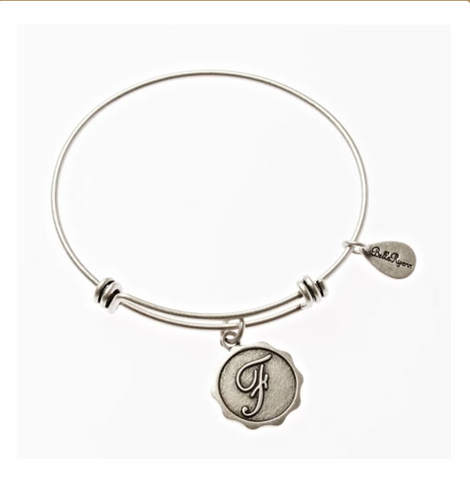 Letter F - Expandable Bangle Charm Bracelet in Silver