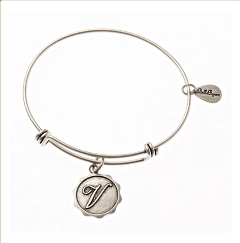 Letter V - Expandable Bangle Charm Bracelet in Silver