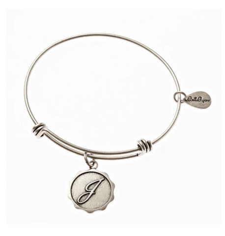 Letter J - Expandable Bangle Charm Bracelet in Silver
