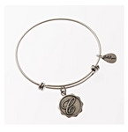 Letter C - Expandable Bangle Charm Bracelet in Pewter