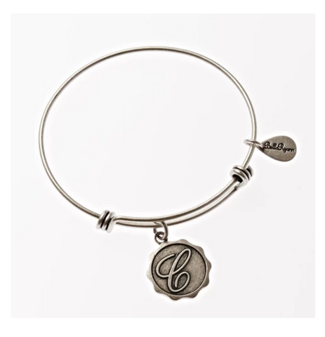 Letter C - Expandable Bangle Charm Bracelet in Silver