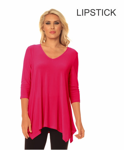 V-Neck Double Point Ladies Tunic Top