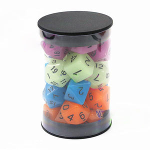 Four Sets of 7 Glow in the Dark Acrylic Polyhedral Dice for Classic RPGs