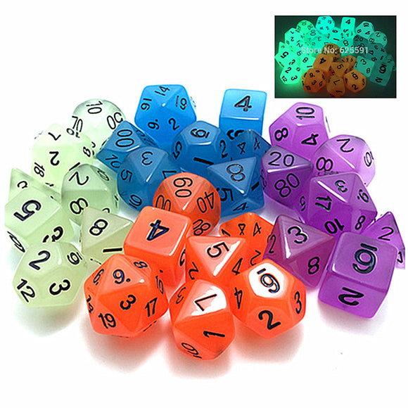 Glow in the Dark Set of 7 Acrylic Polyhedral Dice for Classic RPGs