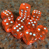 Twenty 14mm Translucent Acrylic Six Sided Dice