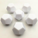 Five Twelve Sided (D12) Dice With All Blank Faces