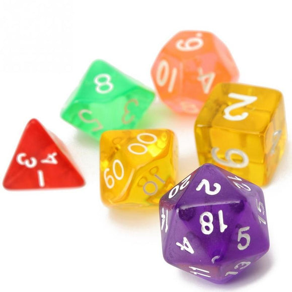 Set of 7 Translucent Acrylic Polyhedral Dice for Classic RPGs