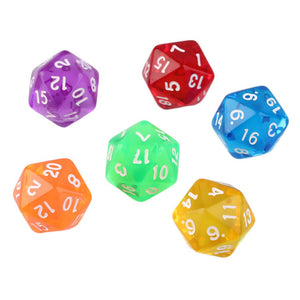 Six Translucent Acrylic Twenty Sided Dice in Various Colours