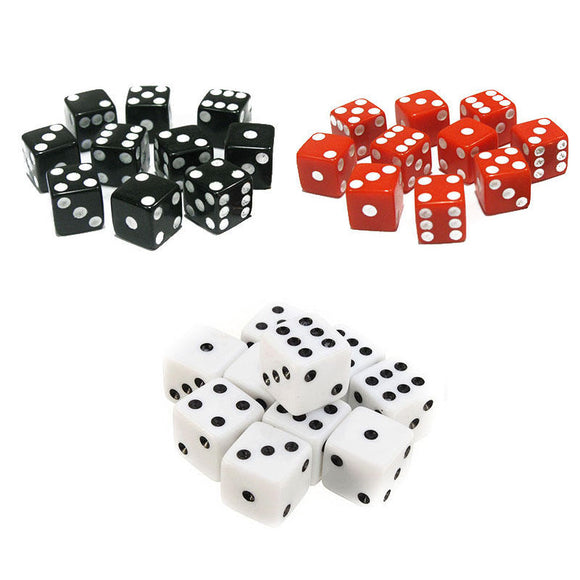 Ten High Quality, Solid Acrylic Six Sided Dice with Square Corners