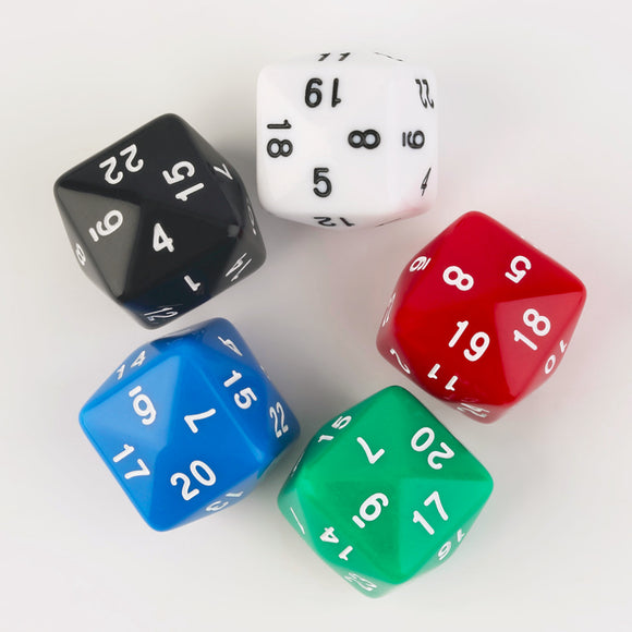 Five Solid Acrylic Twenty-Four Sided Polyhedral Dice