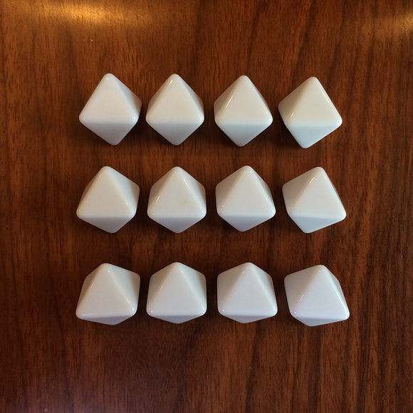 Ten Eight Sided (D8) White Dice With All Blank Faces