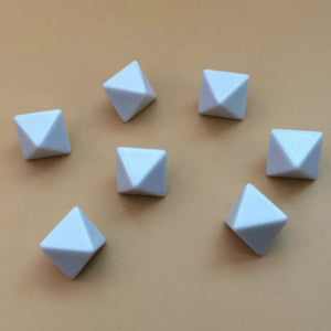 Four Eight Sided (D8) White Dice With All Blank Faces