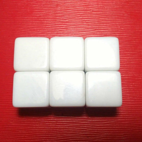 Four 18mm Six-Sided (D6) White Dice With All Blank Faces