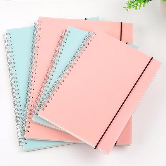 A5 Spiral Notebook with Dots or Grid and Pink or Sky Blue Cover