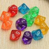 Ten Translucent Acrylic Ten Sided Polyhedral Dice