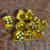 Ten 16mm Translucent Acrylic Six Sided Dice with Round Corners