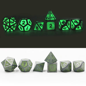 Solid Metal Luminous Green Sets of Seven RPG Dice