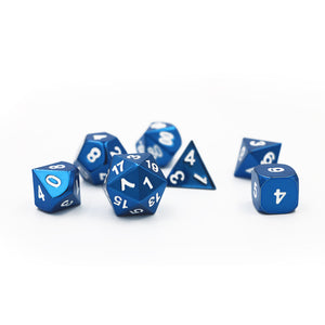 Bright Coloured Sets of Seven Solid Metal Dice