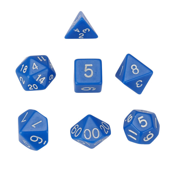 Set of 7 Opaque Acrylic Polyhedral Dice for Classic RPGs