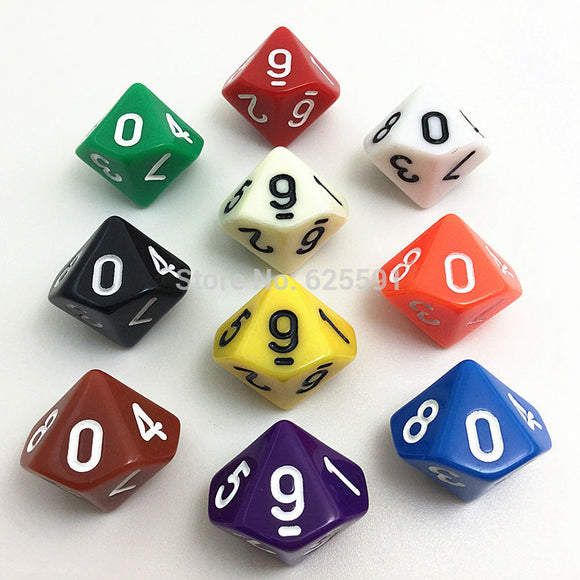 Ten Solid Acrylic Ten Sided Polyhedral Dice