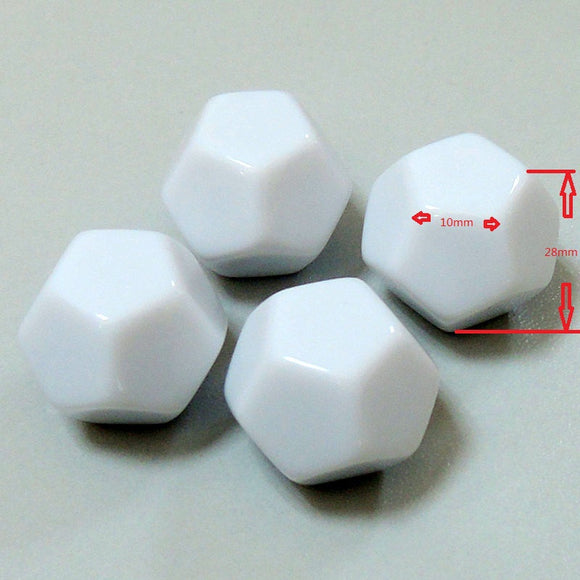 Two Large Twelve Sided (D12) White Dice With All Blank Faces