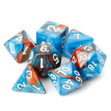 Set of 7 Two-Colour Marble Texture Acrylic Polyhedral Dice for Classic RPGs