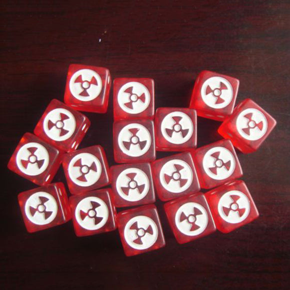 Ten Large Six Sided Dice with Radioactive Symbols