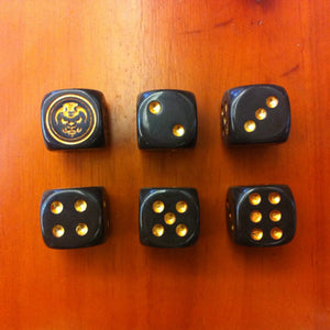 Six Golden Demon Face Six Sided Dice
