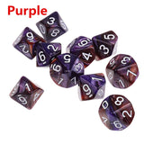 Ten 10 Sided Pearl/Marble Finish Polyhedral Dice