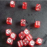 Six Large Six Sided Dice with Radioactive Symbols