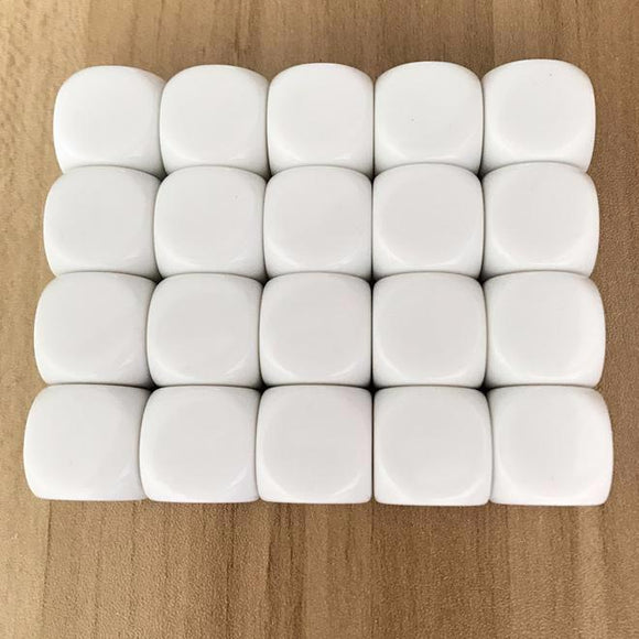 Twenty-Five 18mm Six-Sided (D6) White Dice With All Blank Faces