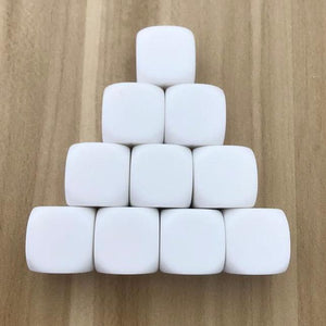 Five 20mm Six-Sided (D6) White Dice With All Blank Faces