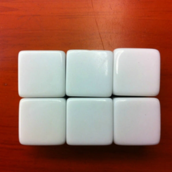 Six 16mm Six-Sided (D6) White Dice With All Blank Faces
