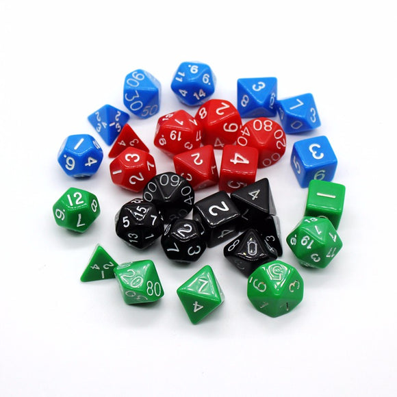 Bundle of 21 Solid Polyhedral Dice for Classic Role Playing Games