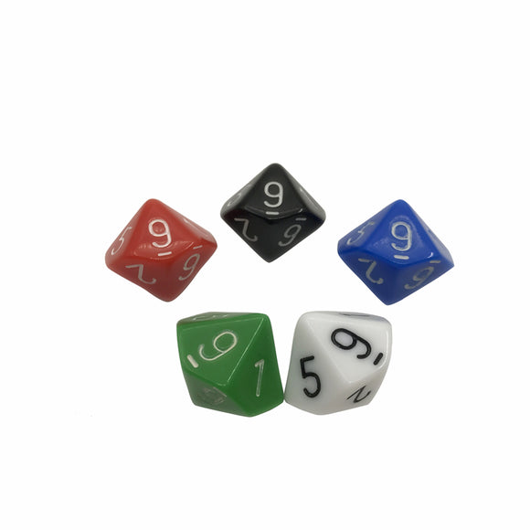 Five Solid Acrylic Ten Sided Polyhedral Dice
