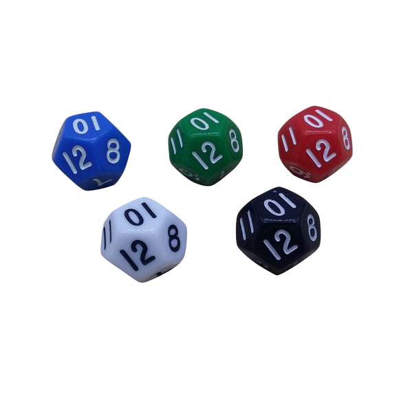 Five Solid Acrylic Twelve Sided Polyhedral Dice