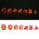 Solid Metal Luminous Red Sets of Seven RPG Dice